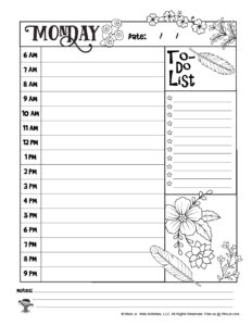 Monday Coloring Planner Page to Print