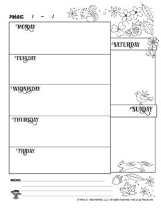 Printable Weekly Planner for Kids to Color