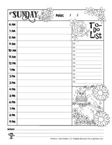 Sunday Printable Daily Planner Page