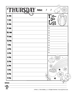 Thursday Coloring Planner Page for Kids