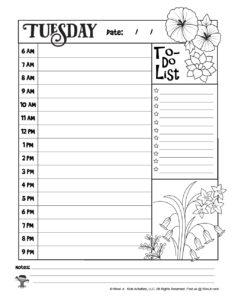Printable Coloring Tuesday Task List