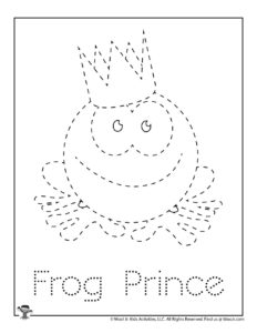 Frog Prince Tracing Practice Coloring Page