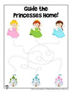 Princess Line Tracing Guide Worksheet