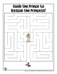Princess Follow the Maze Worksheet