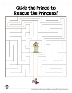 Princess Activity Page Maze Worksheet - KEY