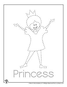 Princess Tracing Worksheet for Preschoolers