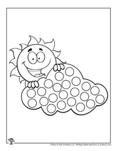 Sunshine Cloud Dot Marker Free Coloring Page
