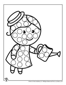 Girl in Garden Free Printable Dot Coloring Page