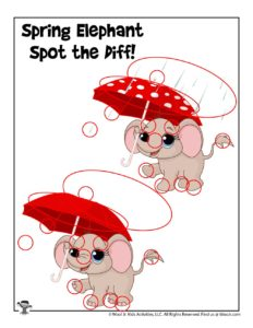 Spring Showers Differences Activity Page - KEY