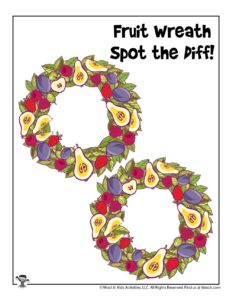 Spring Wreath Can You Find the Differences Printable