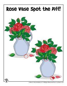Spring Roses Preschool Activity Worksheet - KEY