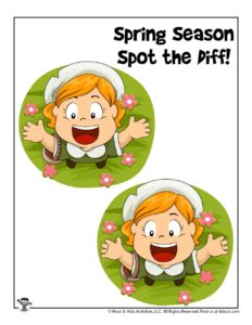 Spot and Circle the Differences Spring Activity Worksheet