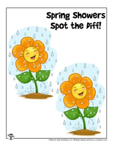 Spring Showers Spot the Difference Activity Game for Kids
