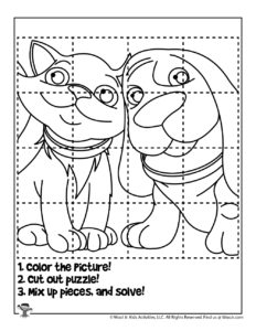 Cat and Dog Printable Coloring Puzzle