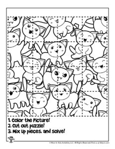 Cute Cats Printable Puzzle Activity Page