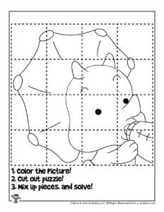 Baby Dinosaur Puzzle Coloring Page to Print