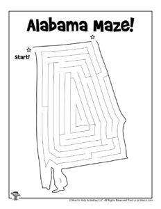 Alabama Maze Kids Activity Sheet