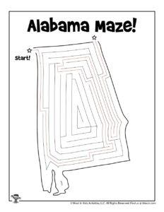 Alabama Maze Kids Activity Sheet - KEY