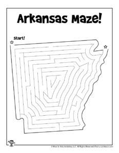 Arkansas Printable Mazes of 50 States