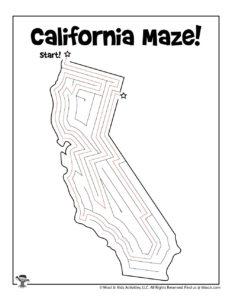 California States Maze to Print - KEY