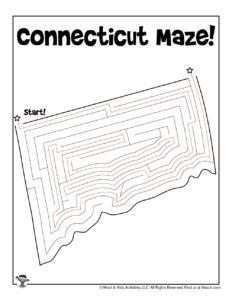 Connecticut Printable Coloring Page Maze - KEY