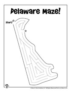 Delaware Maze Coloring Page for Kids