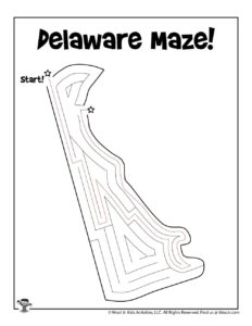 Delaware Maze Coloring Page for Kids - KEY