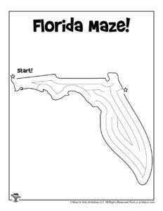 Florida Maze Activity Worksheet for Kids