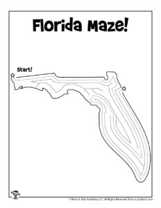 Florida Maze Activity Worksheet for Kids - KEY