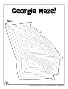 Georgia 50 States Map Activity Worksheet - KEY