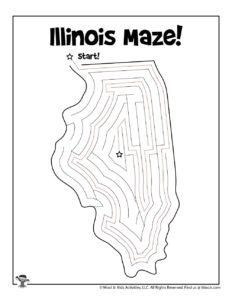 Illinois Printable Maze Coloring Page - KEY
