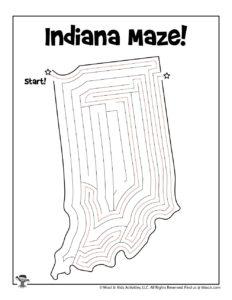 Indiana Printable United States Maze Activity - KEY