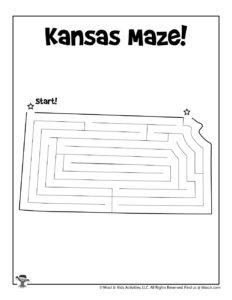 Kansas US State Maze Printables
