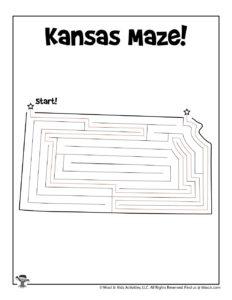 Kansas US State Maze Printables - KEY