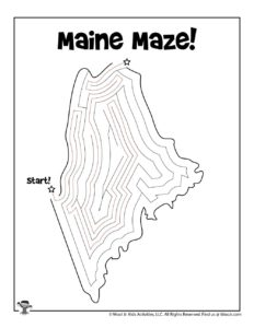 State of Maine Maze Puzzle to Print - KEY