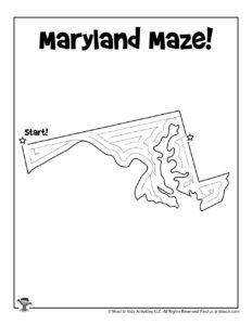 Maryland Printable USA State Mazes