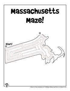 Massachusetts Coloring Page Worksheet - KEY