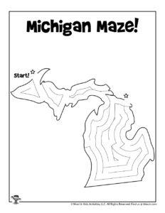 Michigan USA State Mazes Activity Page