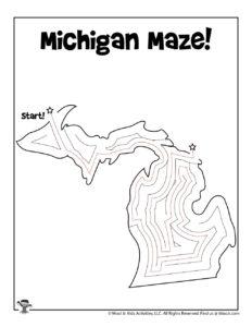 Michigan USA State Mazes Activity Page - KEY