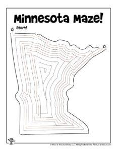 Minnesota Printable Maze for Kids - KEY
