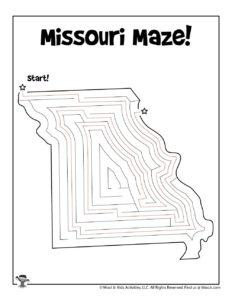 Missouri Printable Mazes of United States - KEY