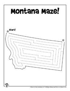 Montana Big Sky State Maze Worksheet