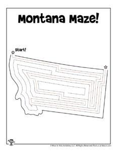 Montana Big Sky State Maze Worksheet - KEY