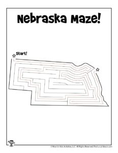 Nebraska Printable Maze of America - ANSWER