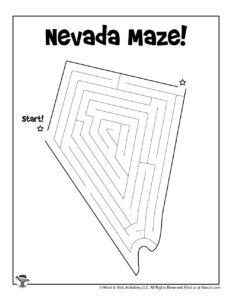 Nevada Coloring Maze Activity for Kids