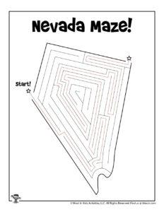 Nevada Coloring Maze Activity Page - KEY