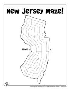 New Jersey Maze Activity Worksheet for Kids