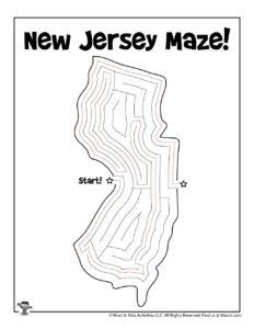 New Jersey Maze Activity Worksheet for Kids - KEY