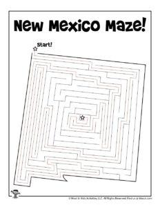 New Mexico Printable Mazes for Kids Free - KEY