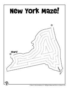 New York United States Maze for Kids